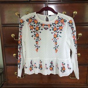 ZARA Embroidered Sheer Top